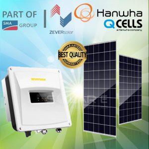 Hệ thống điện Mặt Trời Hòa Lưới Zever Solar+ Hanwha 1 Pha 6.2 KWP (18 Tấm)