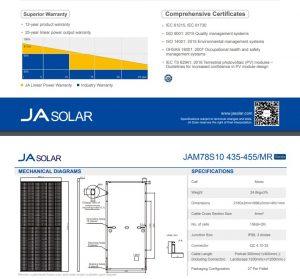 Tấm Pin Năng Lượng Mặt Trời JA SOLAR Mono Half-Cell 445W